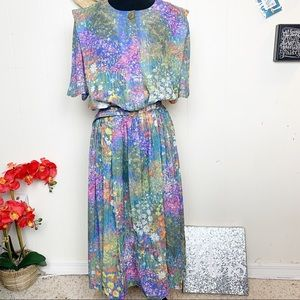 Vintage Lady Carol Romantic Floral Midi Dress